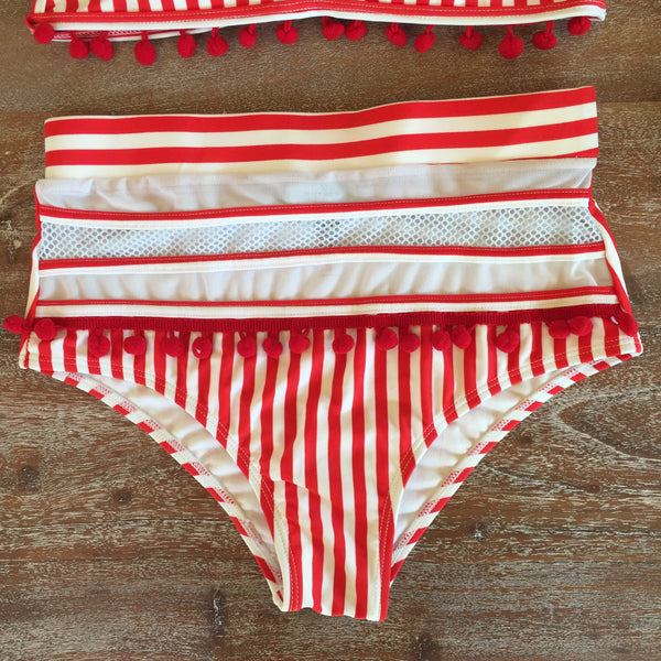 Seashores of Mexico Pom Pom High-Waisted Bikini Bottoms in Red and White Stripes