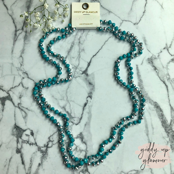 60 Inch Long Layering 8mm Crystal Strand Necklace in Turquoise and Silver