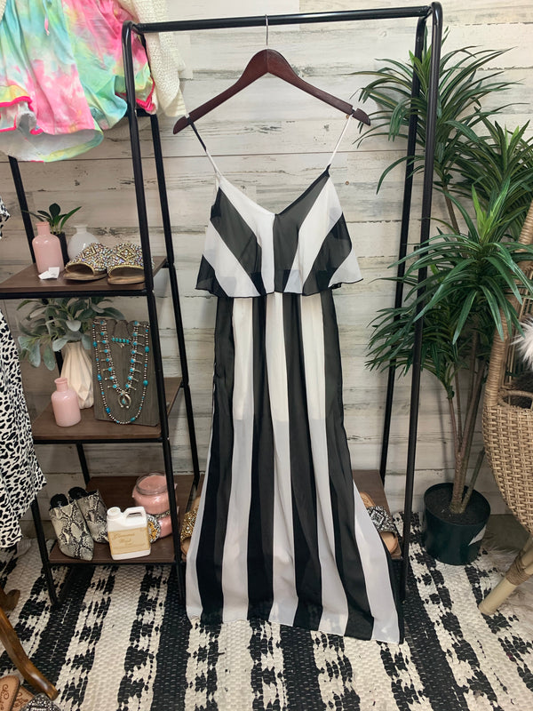 Striped Maxi Dress in White and Black