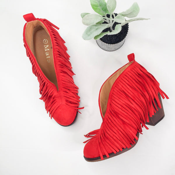 SIZE 10 | Boho Babe Fringe Booties in Red