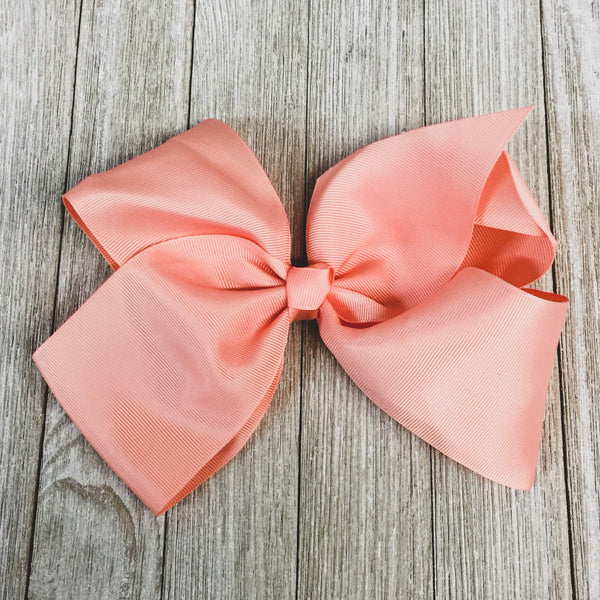 Solid Color Hair Bow in Peach