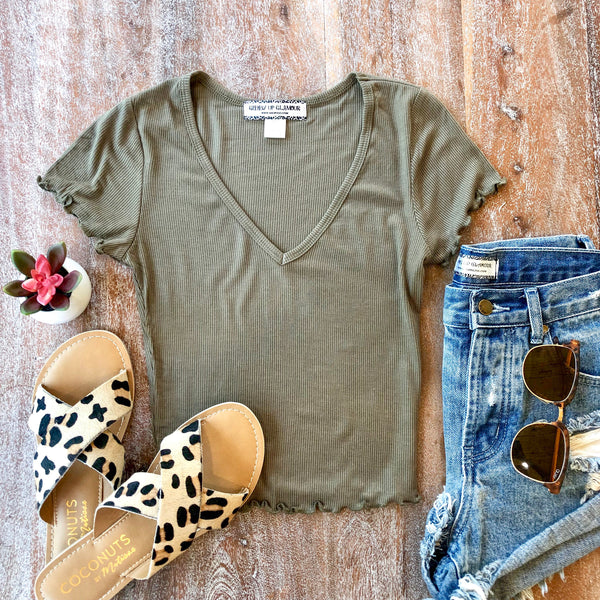 Happy Me Ribbed V Neck Crop Top in Olive