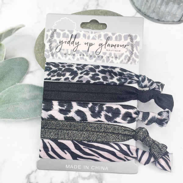 Set of 5 Soft Hair Ties in Black, Silver and Animal Print