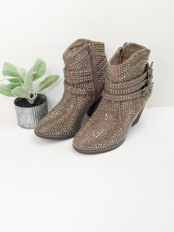 SIZE 7.5 | Touch of Serendipity Crystal Bling Heeled Booties in Taupe