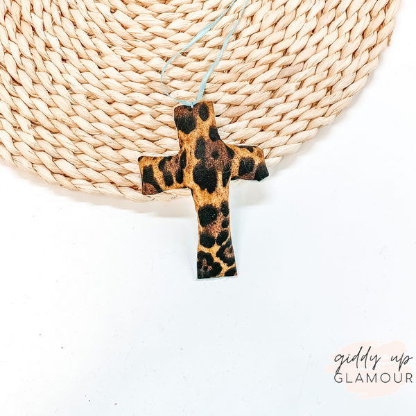 Leopard Print Cross Shaped Freshie in Naked Cowboy