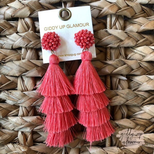 Layered Tassel Earrings with Statement Beaded Stud in Coral