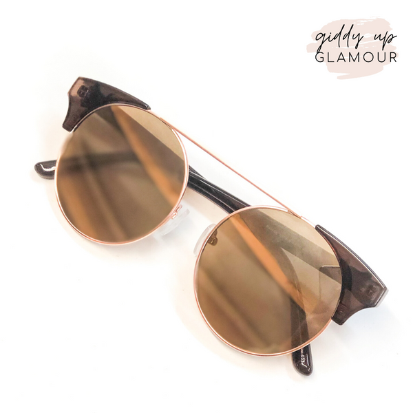 The Nina Round Cat Eye Sunglasses in Rose Gold and Brown