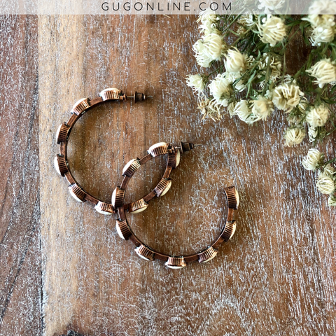 Copper Hoop Earrings with White Ivory Stones