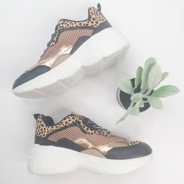 Rise Up Lace Up Sneaker in Leopard