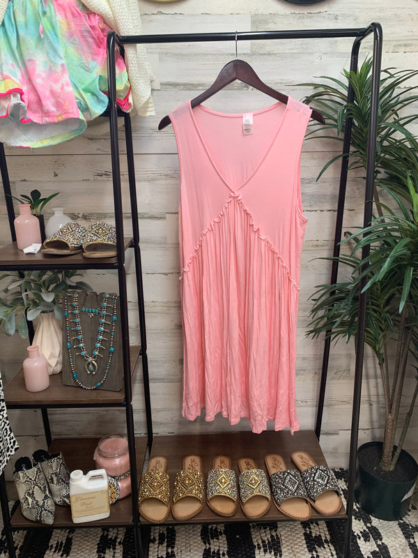 V-Neck Tank Top Dress with Ruffle Detail in Light Pink