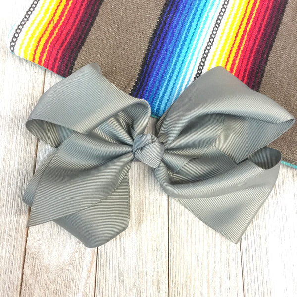 Solid Color Hair Bow in Grey