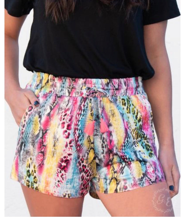 Over the Rainbow Animal Print Drawstring Shorts in Multi