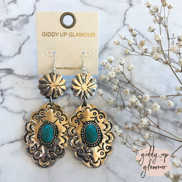 Silver Tiered Flower Embellished Earrings in Turquoise