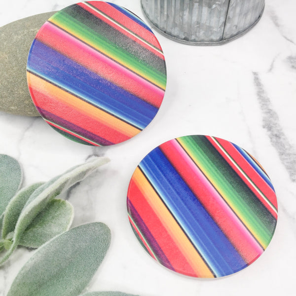Set of Two | Serape Car Coasters in Blue