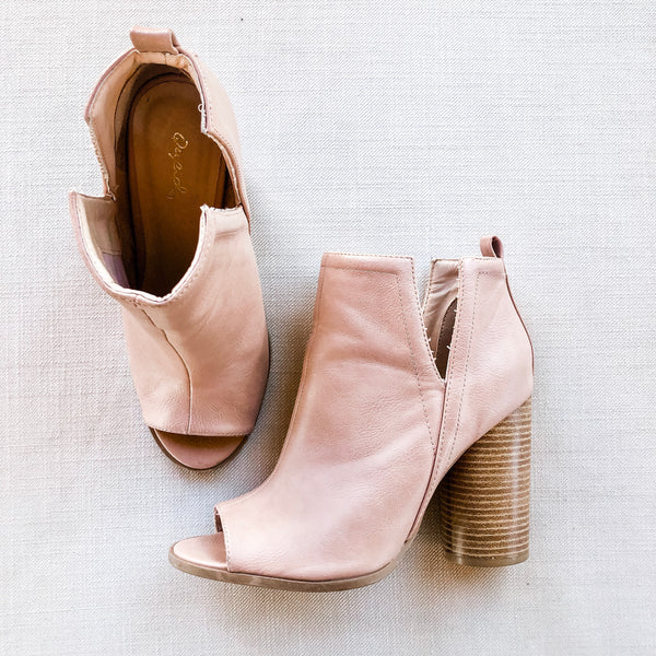 Blondi Peep Toe Booties in Nude