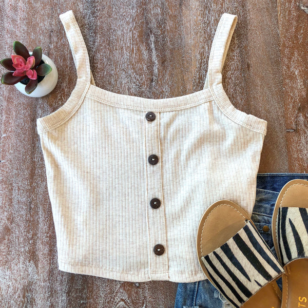 Good Life Cropped Tank with Buttons in Oatmeal