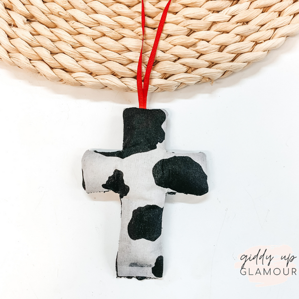 Cowhide Print Cross Shaped Freshie in Leather