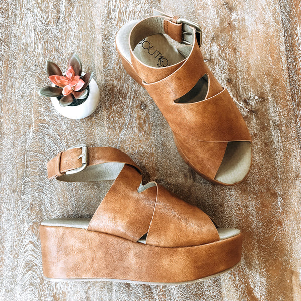 Corky's | Marseille Crossed Straps Platform Wedges in Cognac