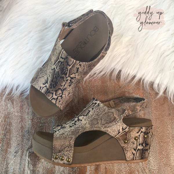 SIZE 9 and 10 | Corky's | Walk to Me Wedges in Brown Snake