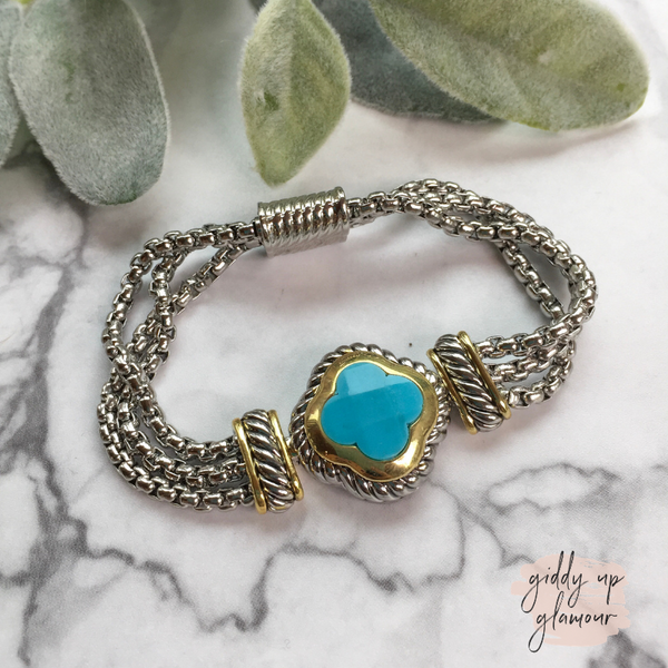 Two Toned Clover Magnetic Bracelet in Turquoise