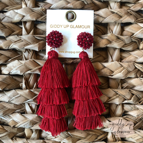 Layered Tassel Earrings with Statement Beaded Stud in Red