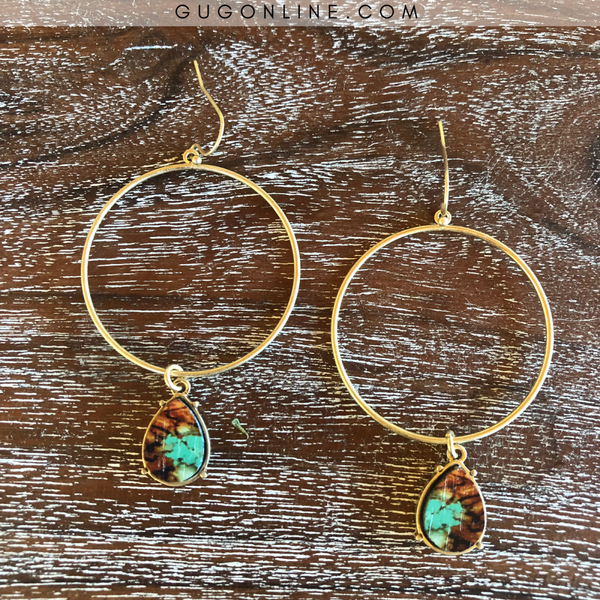 Large Gold Hoop Earrings with Small Teardrop Dangles in Mottled Turquoise