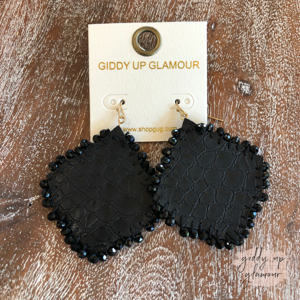 Diamond Leather Earrings with Beaded Trim in Black