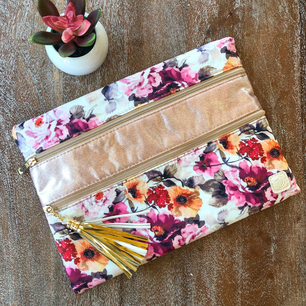Pocketful of Posies | The Versi Two Pouch Bag in Floral and Rose Gold