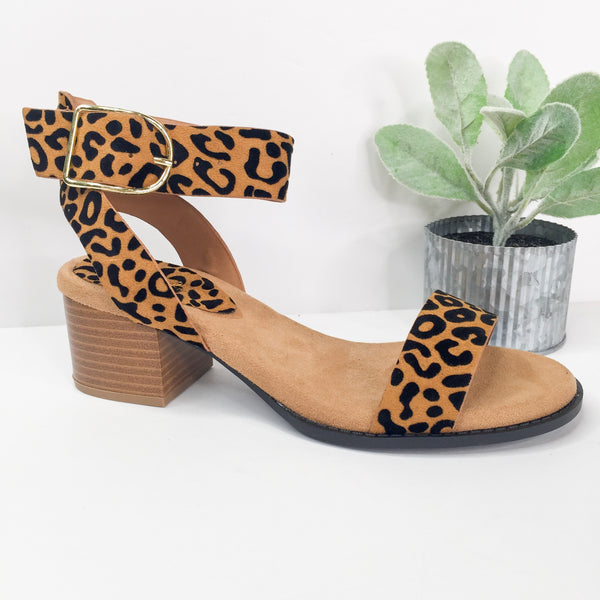 Take Your Step Ankle Strap Leopard Heeled Sandals