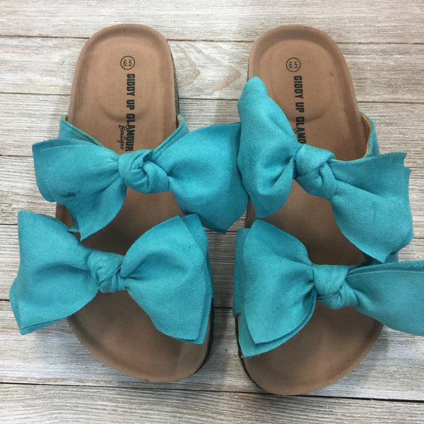 Damaged | Crushing Hard Double Bow Slide On Sandals in Turquoise | Sizes 6.5, 8, 9, 10, 11