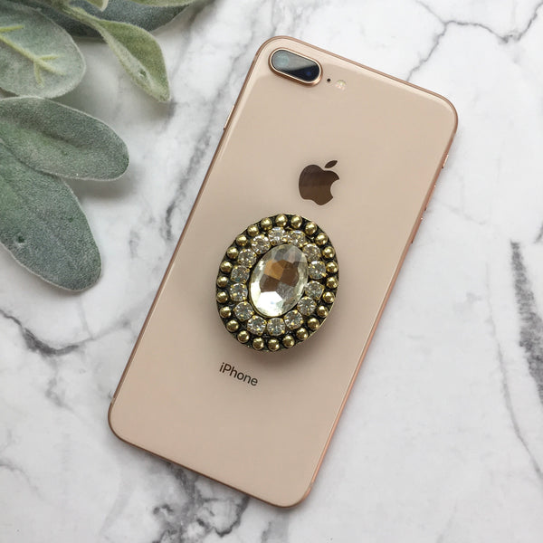 Large Crystal Phone Grip with Crystal and Bronze Embellishments