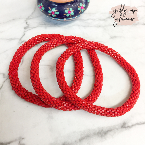 Set of Three | Beaded Bracelets in Red