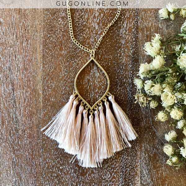 Gold Chain Lantern Outline Necklace with Fringe Tassels in Light Pink