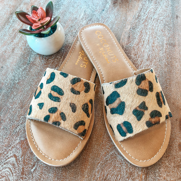 Cabana One Strap Slide On Sandals in Leopard