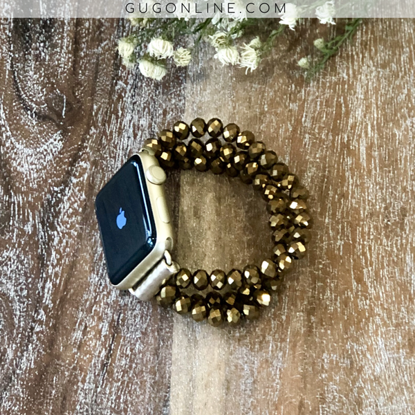 The Roxi | Three Crystal Strand Apple Watch Band in Bronze