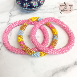 Set of Three | Beaded Bracelets in Pink and Multi