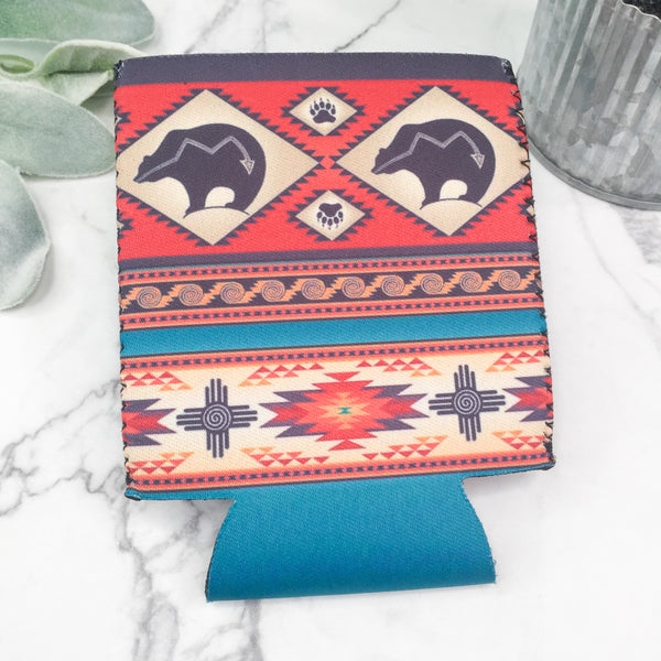 Navajo Bear Koozie in Rust and Turquoise