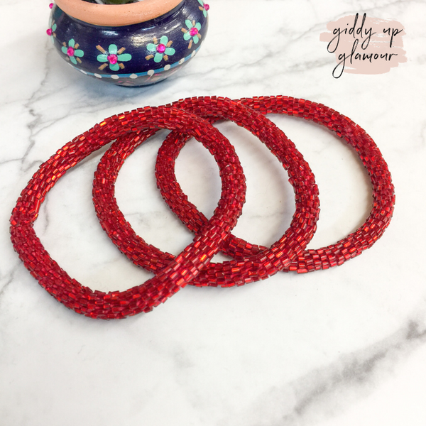 Set of Three | Beaded Bracelets in Dark Red