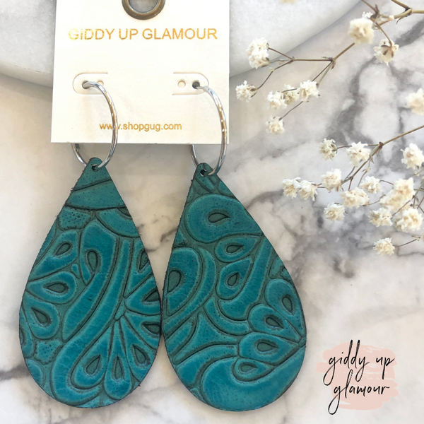 Tooled Leather Teardrop Earrings in Turquoise