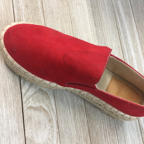 DAMAGED Trust Your Path Suede Platform Espadrille Flats in Red Sizes 7.5, 8, 8.5