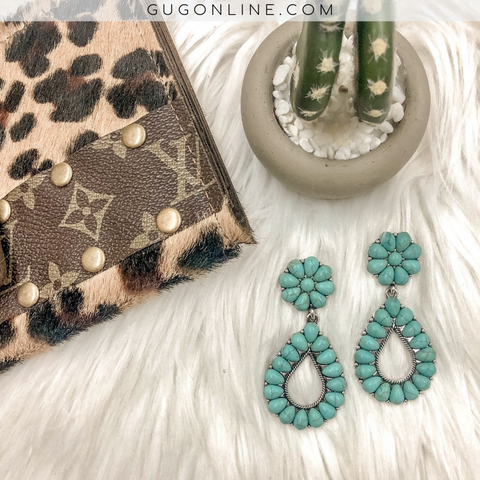 Flower Stud with Turquoise Teardrop Earrings