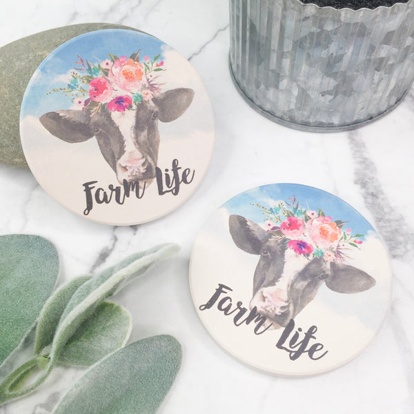 Set of Two | Cow Farm Life Car Coasters
