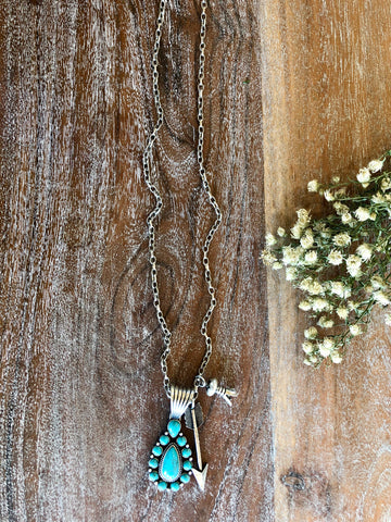 Turquoise Teardrop Pendant with Arrow and Blossom Charms on Silver Chain Necklace