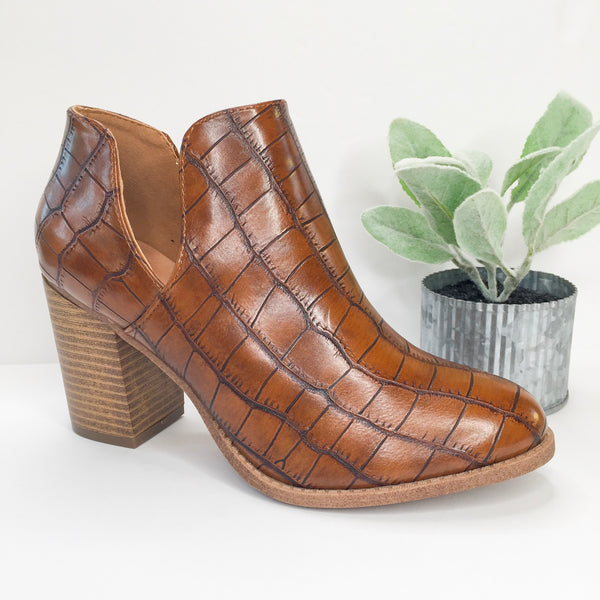 Notice It Now Crocodile Booties in Tan