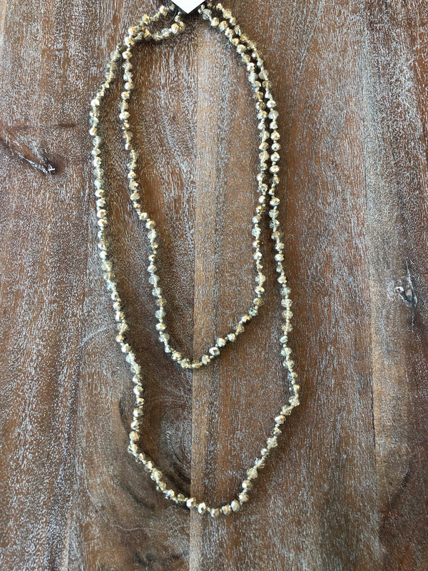 60 Inch Long Layering 8mm Crystal Strand Necklace in Matte Gold