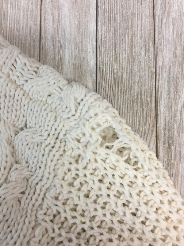 SECONDS| SIZE 1XL On My Level Chenille Cable Knit Pullover Sweater in Ivory