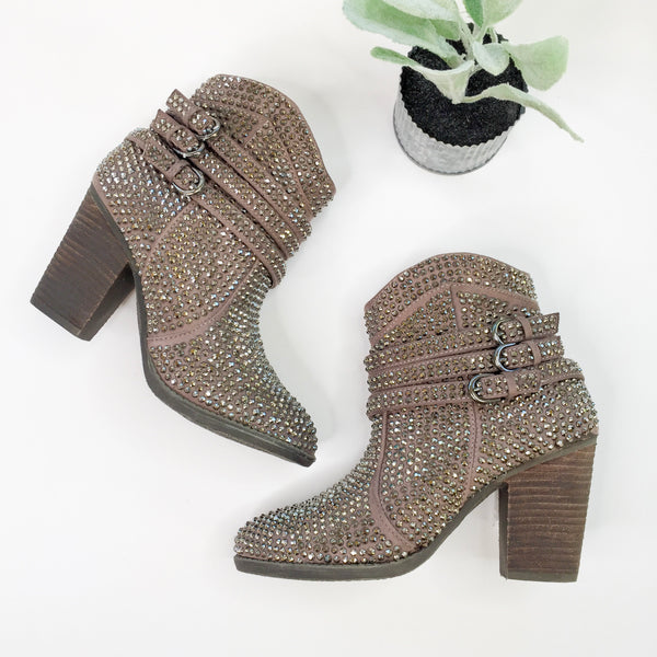 SIZE 7.5 & 8 | Touch of Serendipity Crystal Bling Heeled Booties in Taupe