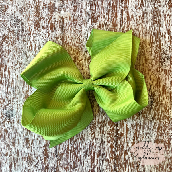 Solid Color Hair Bow in Lime Green