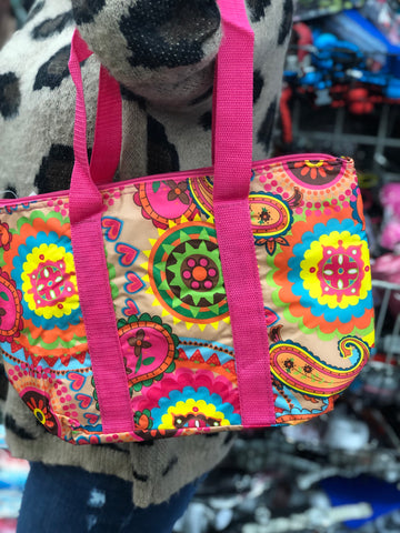 Closeout Treasure!  Insulated Lunch Kit in Paisley and Pink