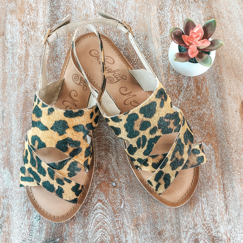 Cup of Tea Hair on Hide Sandal in Leopard - sizes 6, 7, 7.5, 8, 8.5, 9, 9.5, 11 left